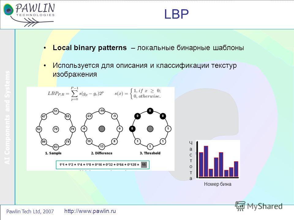 AI Components and Systems Pawlin Tech Ltd, 2007 http://www.pawlin.ru LBP Local binary patterns – локальные бинарные шаблоны Используется для описания и классификации текстур изображения Номер бина ЧастотаЧастота