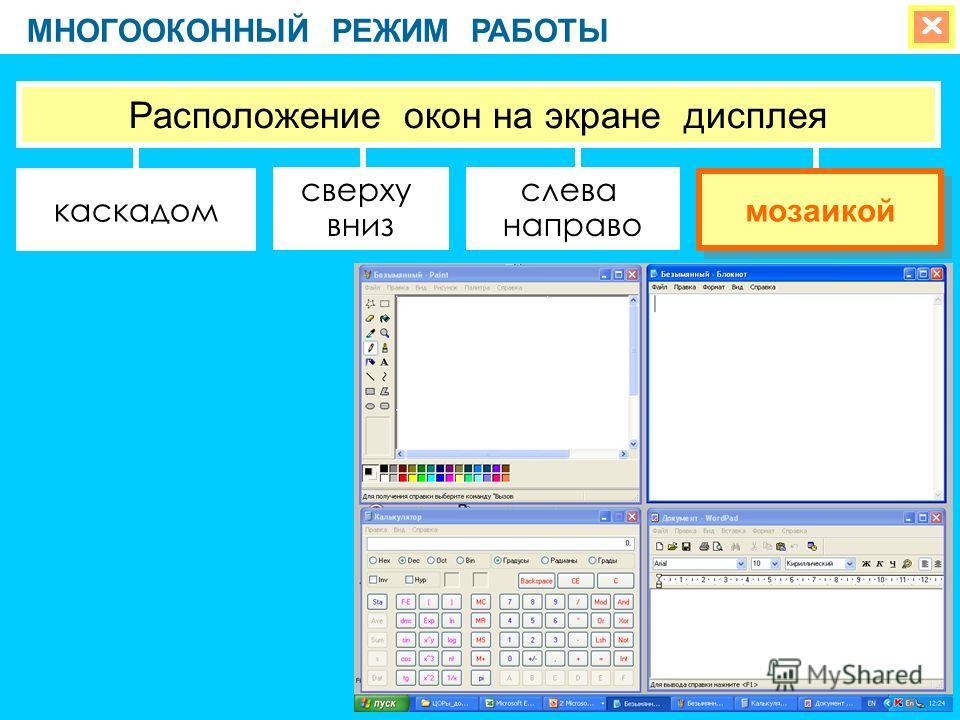 МНОГООКОННЫЙ РЕЖИМ РАБОТЫ сверху вниз слева направо Расположение окон на экране дисплея каскадом мозаикой