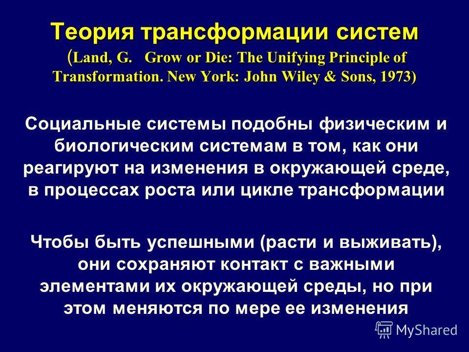 Теория трансформации систем Land, G. Grow or Die: The Unifying Principle of Transformation. New York: John Wiley & Sons, 1973) Теория трансформации систем ( Land, G. Grow or Die: The Unifying Principle of Transformation. New York: John Wiley & Sons,