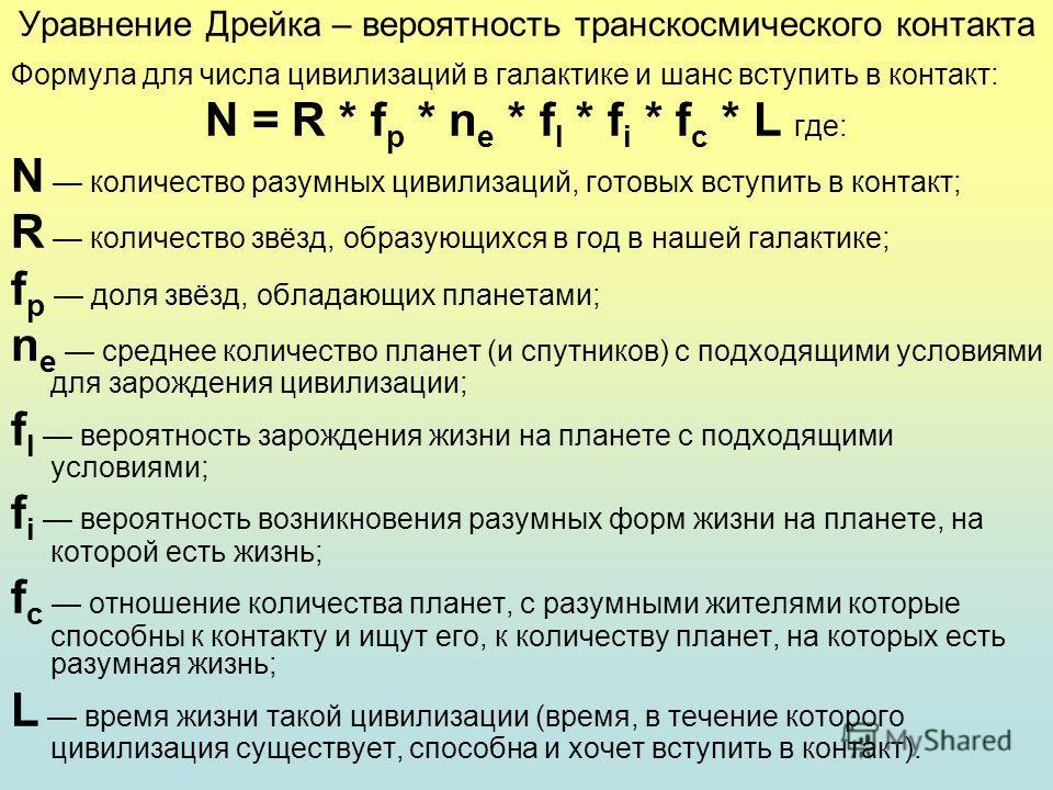Уравнение Дрейка – вероятность транскосмического контакта Формула для числа цивилизаций в галактике и шанс вступить в контакт: N = R * f p * n e * f l * f i * f c * L где: N количество разумных цивилизаций, готовых вступить в контакт; R количество зв
