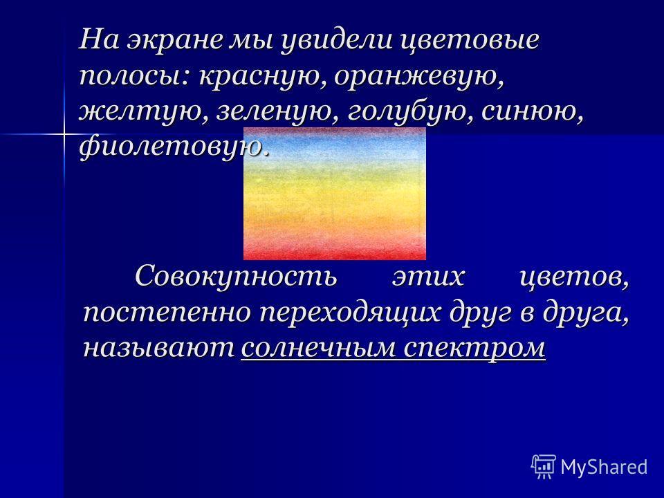 Совокупность этих цветов, постепенно переходящих друг в друга, называют солнечным спектром На экране мы увидели цветовые полосы: красную, оранжевую, желтую, зеленую, голубую, синюю, фиолетовую.