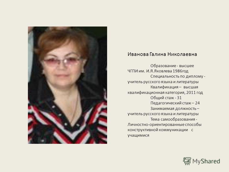 Презентация на тему Иванова Галина Николаевна Образование  1 Иванова