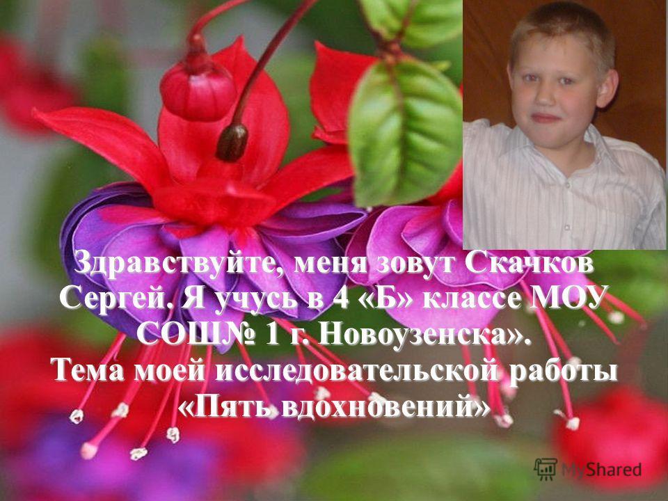 Здравствуйте, меня зовут Скачков Сергей. Я учусь в 4 «Б» классе МОУ СОШ 1 г. Новоузенска». Тема моей исследовательской работы «Пять вдохновений»