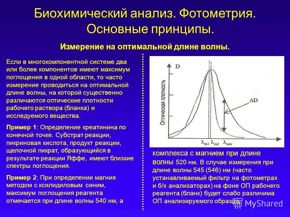 Биохимический анализ. Фотометрия. Основные принципы. Измерение на оптимальной длине волны. Если в многокомпонентной системе два или более компонентов имеют максимум поглощения в одной области, то часто измерение проводиться на оптимальной длине волны