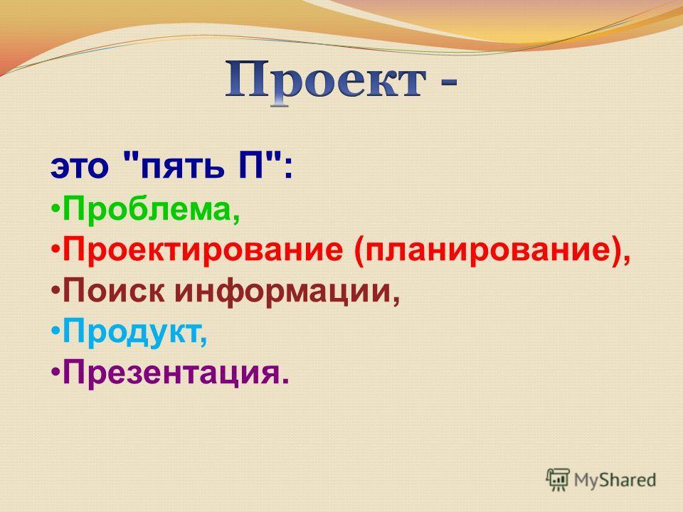 это пять П: Проблема, Проектирование (планирование), Поиск информации, Продукт, Презентация.