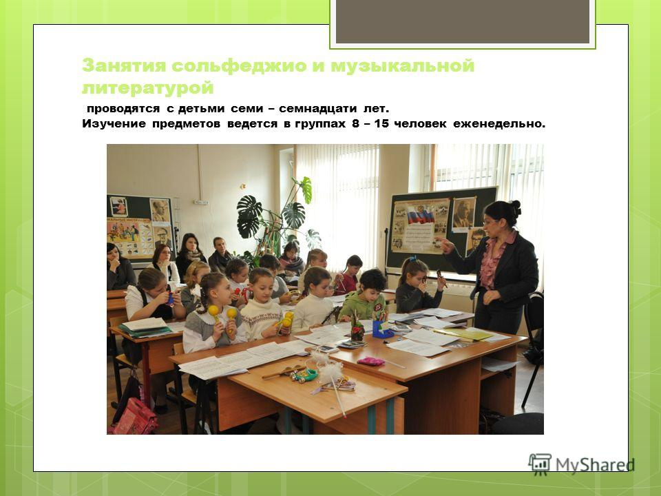 Занятия сольфеджио и музыкальной литературой проводятся с детьми семи – семнадцати лет. Изучение предметов ведется в группах 8 – 15 человек еженедельно.