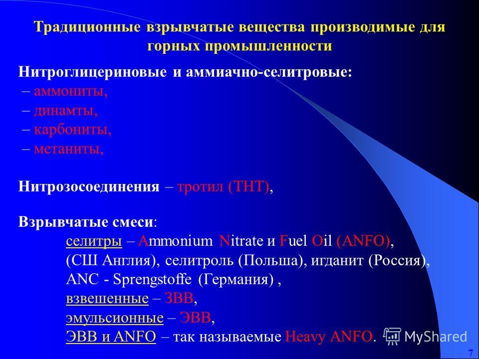 7 Нитроглицериновые и аммиачно-селитровые: – аммониты, – динамты, – карбониты, – метаниты, Нитрозосоединения – тротил (ТНТ), Взрывчатые смеси: селитры – Ammonium Nitrate и Fuel Oil (ANFO), (СШ Англия), селитроль (Польша), игданит (Россия), ANC - Spre