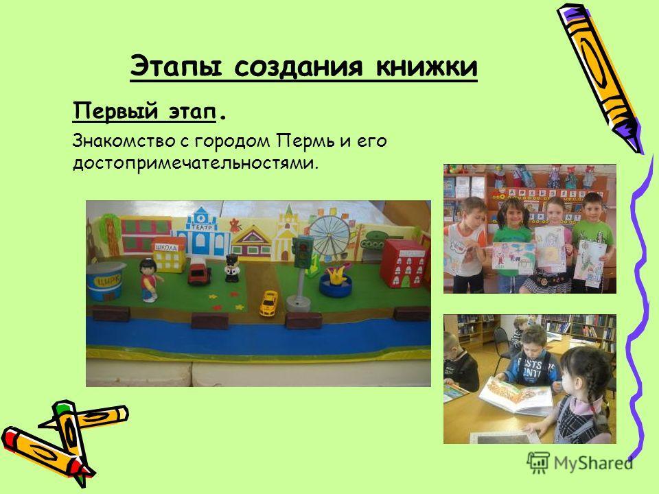 Этапы создания книжки Первый этап. Знакомство с городом Пермь и его достопримечательностями.