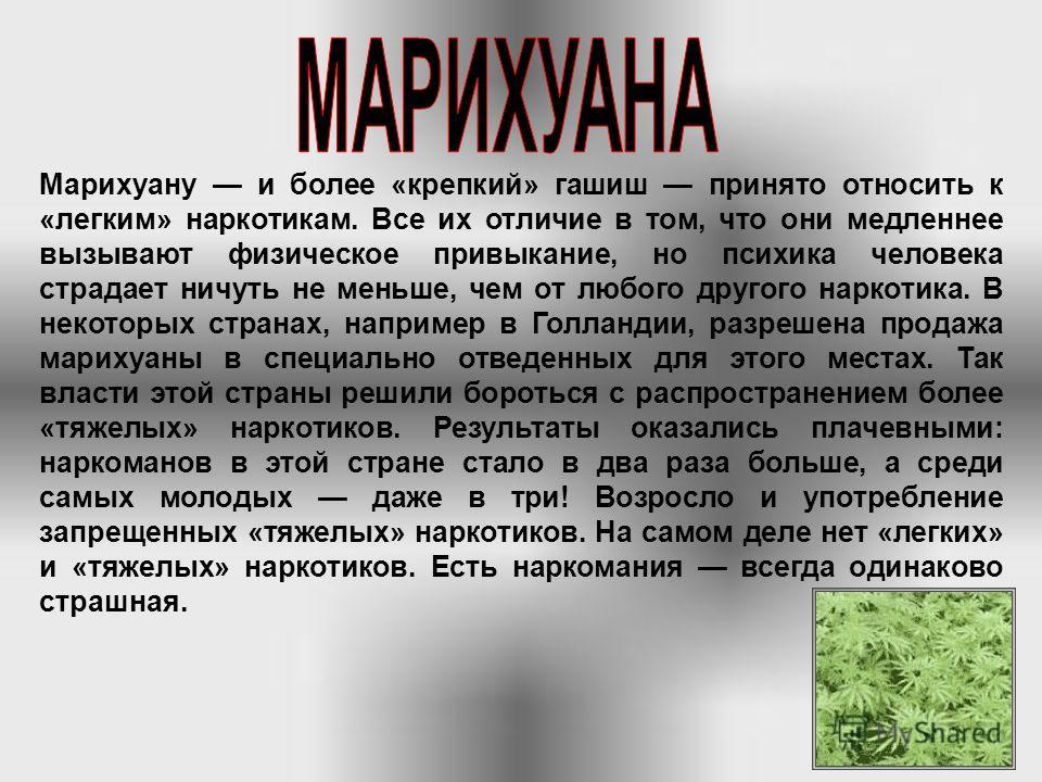 В Европу, как полагают, коноплю завезли воины Наполеона, возвращаясь из Египта. Производные конопли обычно курят, поэтому первыми под ударом оказываются легкие. Курение «травки» так обычно называют марихуану вызывает легкую эйфорию: время как будто з