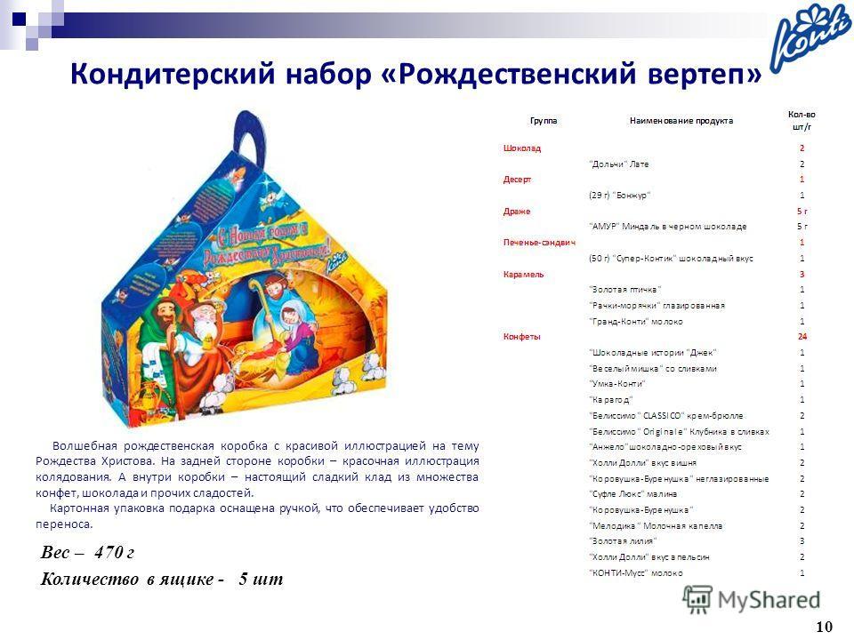 10 Вес – 470 г Количество в ящике - 5 шт Волшебная рождественская коробка с красивой иллюстрацией на тему Рождества Христова. На задней стороне коробки – красочная иллюстрация колядования. А внутри коробки – настоящий сладкий клад из множества конфет