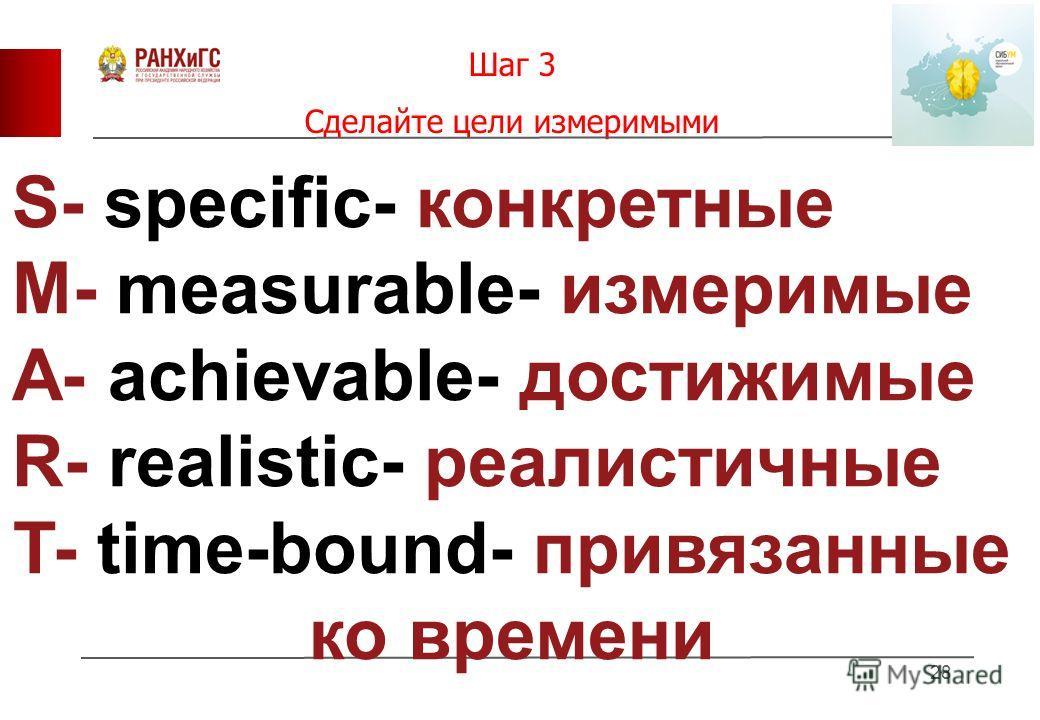 Шаг 3 Сделайте цели измеримыми 28 S- specific- конкретные M- measurable- измеримые A- achievable- достижимые R- realistic- реалистичные T- time-bound- привязанные ко времени
