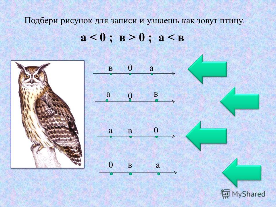 Подбери рисунок для записи и узнаешь как зовут птицу. а 0 ; а < в ав0 а 0 в ав0 0ва