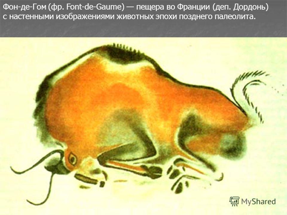 Фон-де-Гом (фр. Font-de-Gaume) пещера во Франции (деп. Дордонь) с настенными изображениями животных эпохи позднего палеолита.