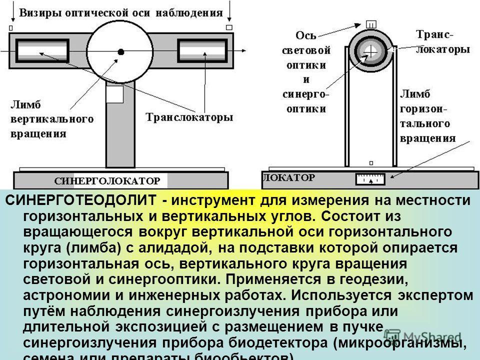 СИНЕРГОТЕОДОЛИТ - инструмент для измерения на местности горизонтальных и вертикальных углов. Состоит из вращающегося вокруг вертикальной оси горизонтального круга (лимба) с алидадой, на подставки которой опирается горизонтальная ось, вертикального кр