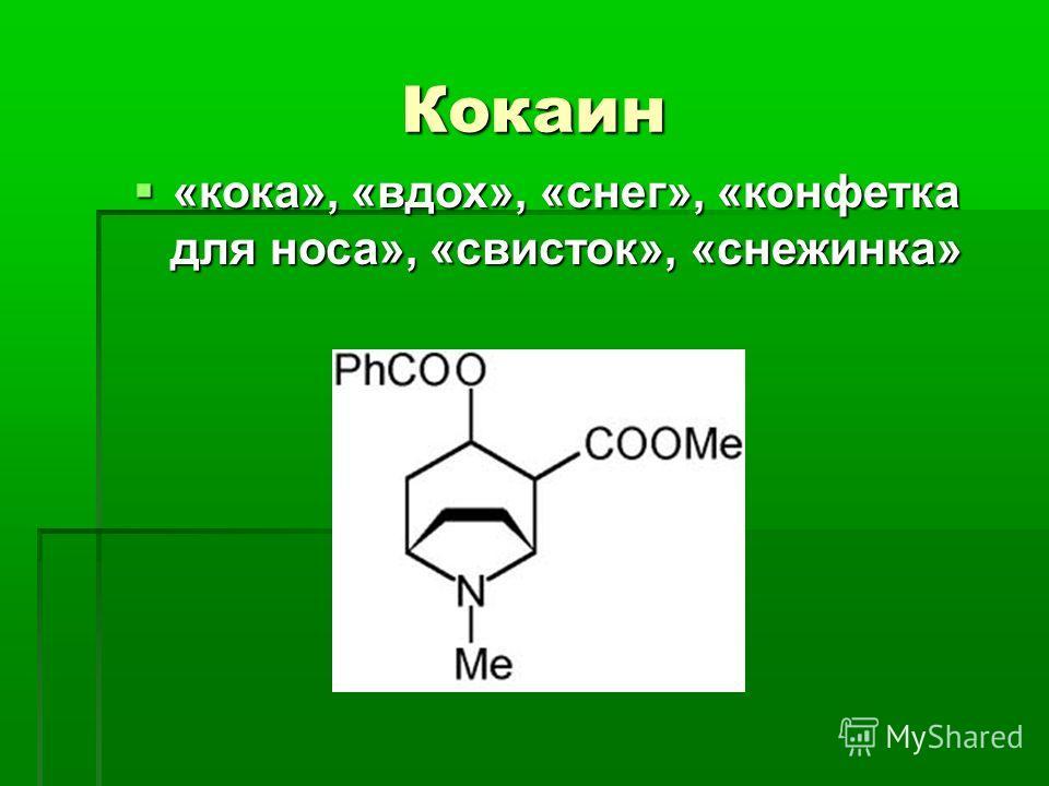 Кокаин «кока», «вдох», «снег», «конфетка для носа», «свисток», «снежинка» «кока», «вдох», «снег», «конфетка для носа», «свисток», «снежинка»