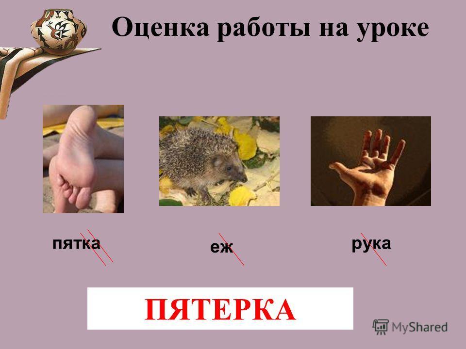 Оценка работы на уроке рука еж пятка ПЯТЕРКА
