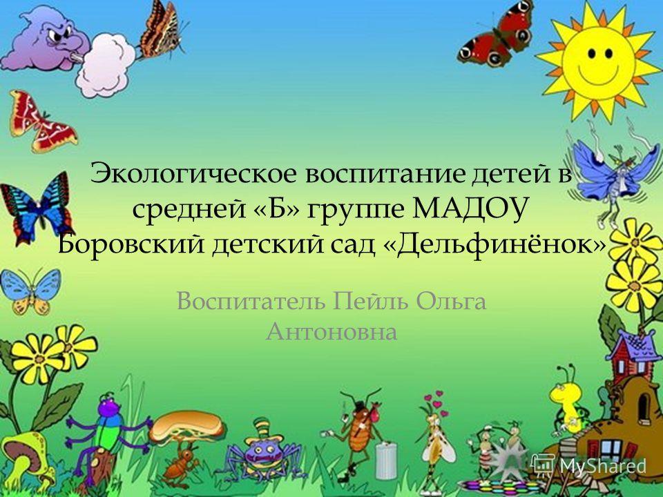 Экологическое воспитание детей в средней «Б» группе МАДОУ Боровский детский сад «Дельфинёнок» Воспитатель Пейль Ольга Антоновна