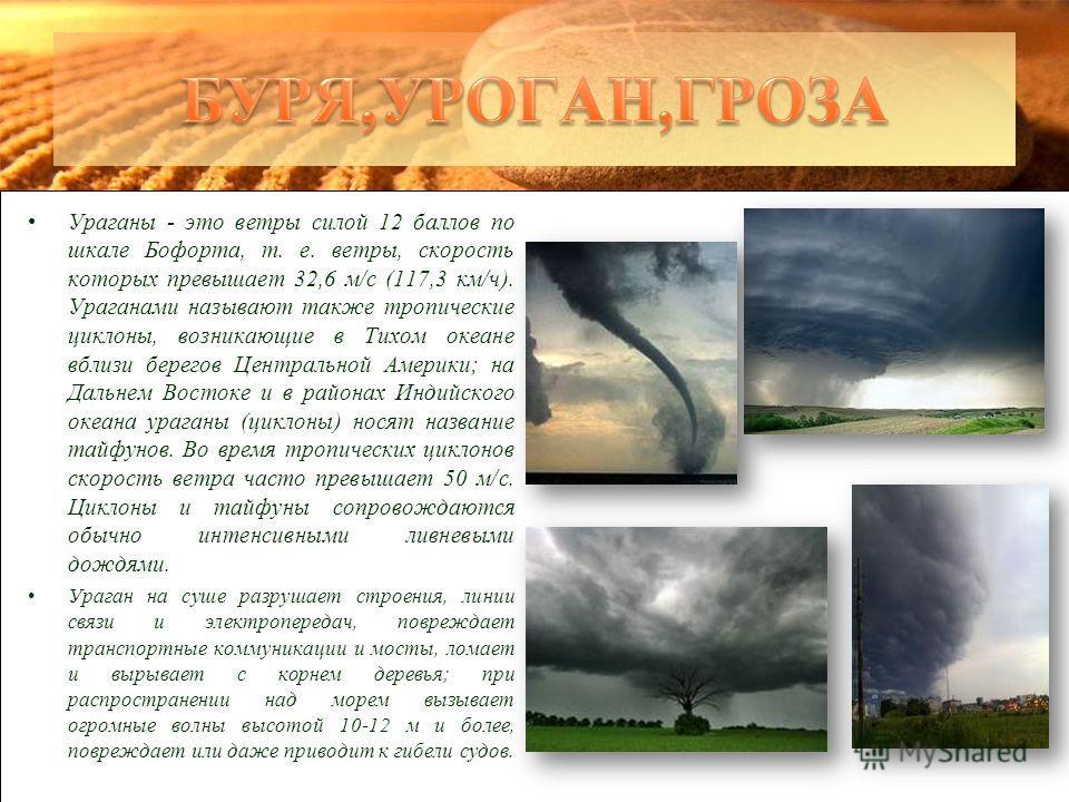 Ураганы - это ветры силой 12 баллов по шкале Бофорта, т. е. ветры, скорость которых превышает 32,6 м/с (117,3 км/ч). Ураганами называют также тропические циклоны, возникающие в Тихом океане вблизи берегов Центральной Америки; на Дальнем Востоке и в р