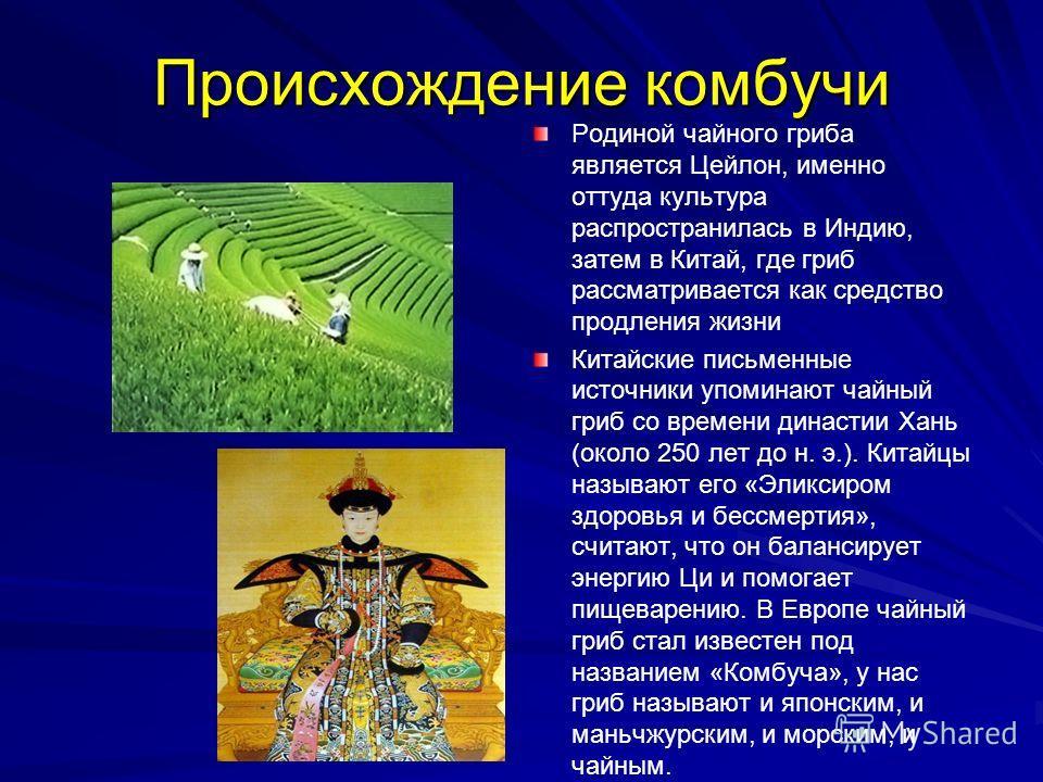 Происхождение комбучи Родиной чайного гриба является Цейлон, именно оттуда культура распространилась в Индию, затем в Китай, где гриб рассматривается как средство продления жизни Китайские письменные источники упоминают чайный гриб со времени династи