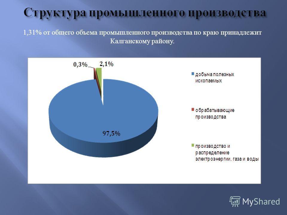 1,31% от общего объема промышленного производства по краю принадлежит Калганскому району.