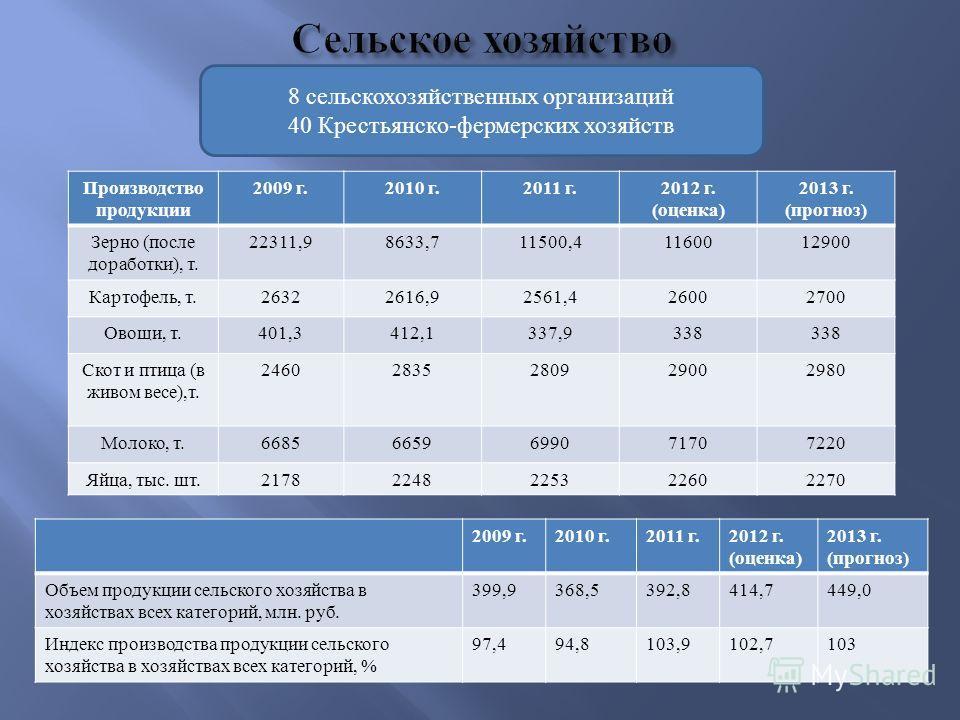 Производство продукции 2009 г.2010 г.2011 г.2012 г. ( оценка ) 2013 г. ( прогноз ) Зерно ( после доработки ), т. 22311,98633,711500,41160012900 Картофель, т.26322616,92561,426002700 Овощи, т.401,3412,1337,9338 Скот и птица ( в живом весе ), т. 246028
