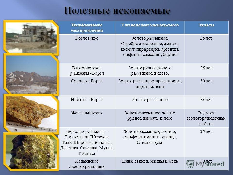 Наименование месторождения Тип полезного ископаемого Запасы Козловское Золото рассыпное, Серебро самородное, железо, висмут, пираргирит, аргентит, стефанит, самсонит, борнит 25 лет Богомоловское р. Нижняя - Борзя Золото рудное, золото рассыпное, желе