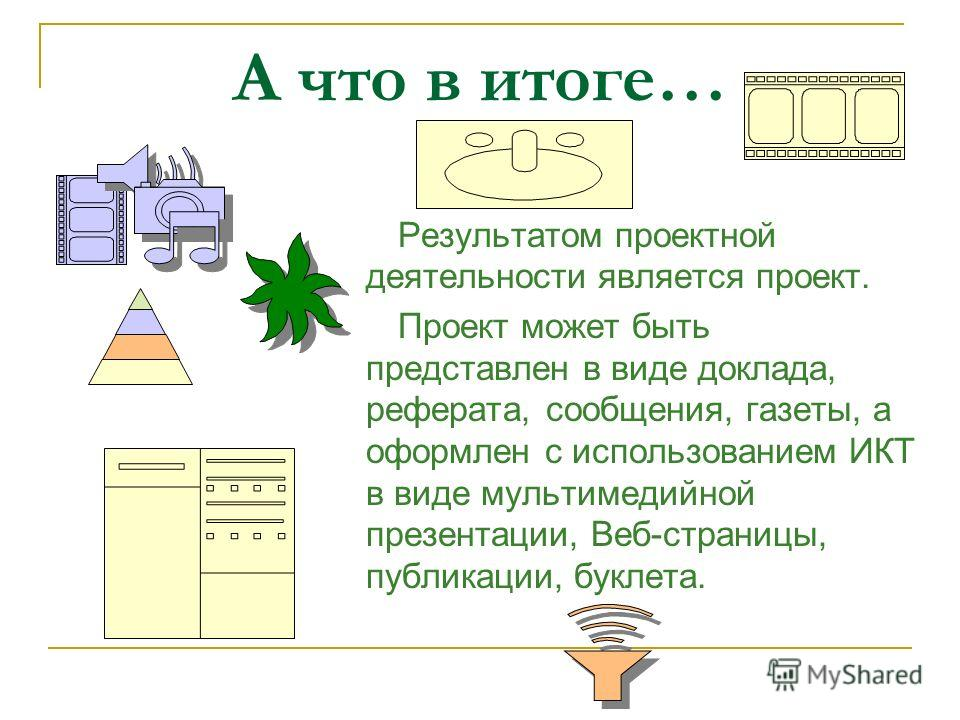 А что в итоге… Результатом проектной деятельности является проект. Проект может быть представлен в виде доклада, реферата, сообщения, газеты, а оформлен с использованием ИКТ в виде мультимедийной презентации, Веб-страницы, публикации, буклета.
