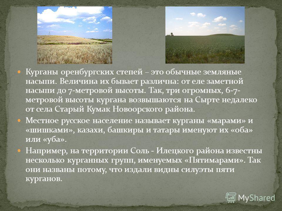 Курганы оренбургских степей – это обычные земляные насыпи. Величина их бывает различна: от еле заметной насыпи до 7-метровой высоты. Так, три огромных, 6-7- метровой высоты кургана возвышаются на Сырте недалеко от села Старый Кумак Новоорского района