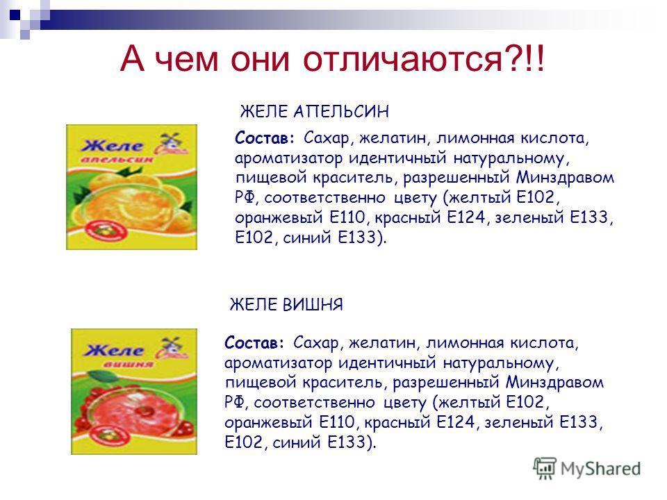 А чем они отличаются?!! Состав: Сахар, желатин, лимонная кислота, ароматизатор идентичный натуральному, пищевой краситель, разрешенный Минздравом РФ, соответственно цвету (желтый Е102, оранжевый Е110, красный Е124, зеленый Е133, Е102, синий Е133). ЖЕ