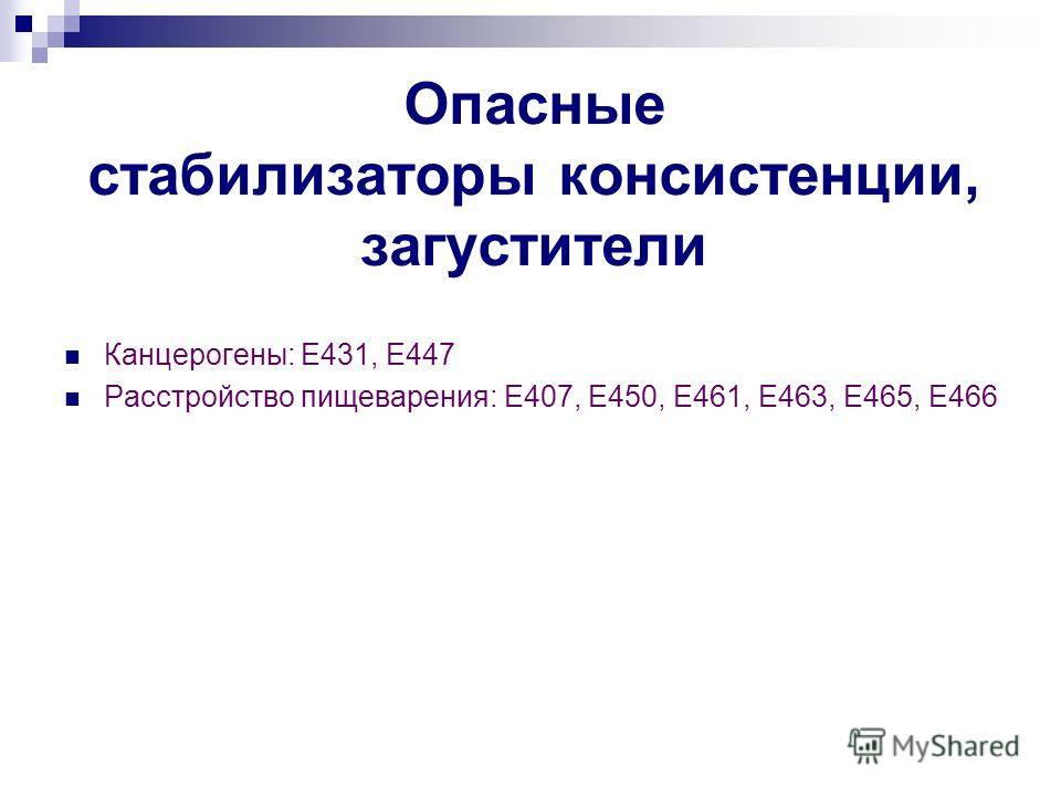 Опасные стабилизаторы консистенции, загустители Канцерогены: Е431, Е447 Расстройство пищеварения: Е407, Е450, Е461, Е463, Е465, Е466