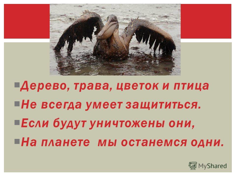 Дерево, трава, цветок и птица Не всегда умеет защититься. Если будут уничтожены они, На планете мы останемся одни.