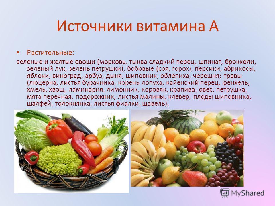 Источники витамина А Растительные: зеленые и желтые овощи (морковь, тыква сладкий перец, шпинат, брокколи, зеленый лук, зелень петрушки), бобовые (соя, горох), персики, абрикосы, яблоки, виноград, арбуз, дыня, шиповник, облепиха, черешня; травы (люце