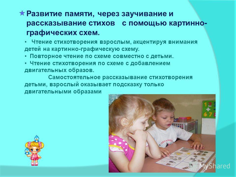 Развитие памяти, через заучивание и рассказывание стихов с помощью картинно- графических схем. Чтение стихотворения взрослым, акцентируя внимания детей на картинно-графическую схему. Повторное чтение по схеме совместно с детьми. Чтение стихотворения