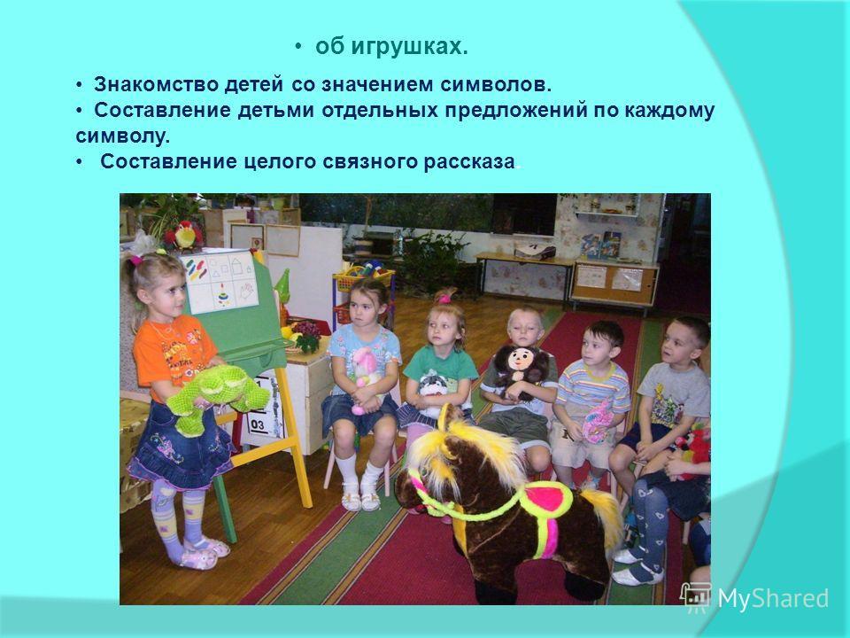 об игрушках. Знакомство детей со значением символов. Составление детьми отдельных предложений по каждому символу. Составление целого связного рассказа.