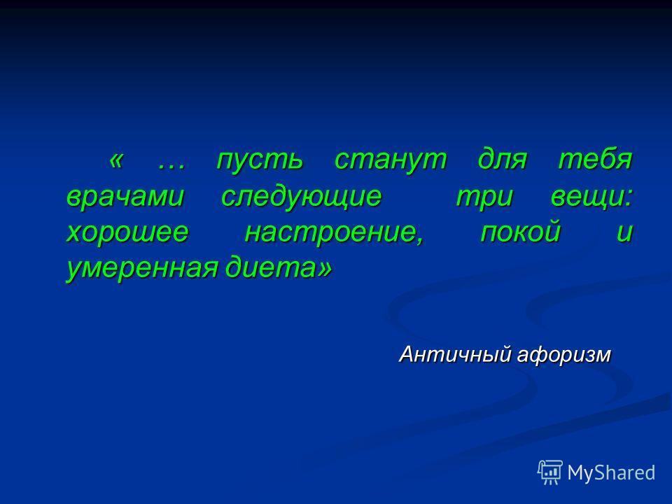 « … пусть станут для тебя врачами следующие три вещи: хорошее настроение, покой и умеренная диета» Античный афоризм Античный афоризм