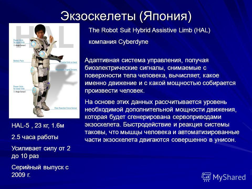 Экзоскелеты (Япония) HAL-5, 23 кг, 1.6м 2.5 часа работы Усиливает силу от 2 до 10 раз Серийный выпуск с 2009 г. Адаптивная система управления, получая биоэлектрические сигналы, снимаемые с поверхности тела человека, вычисляет, какое именно движение и