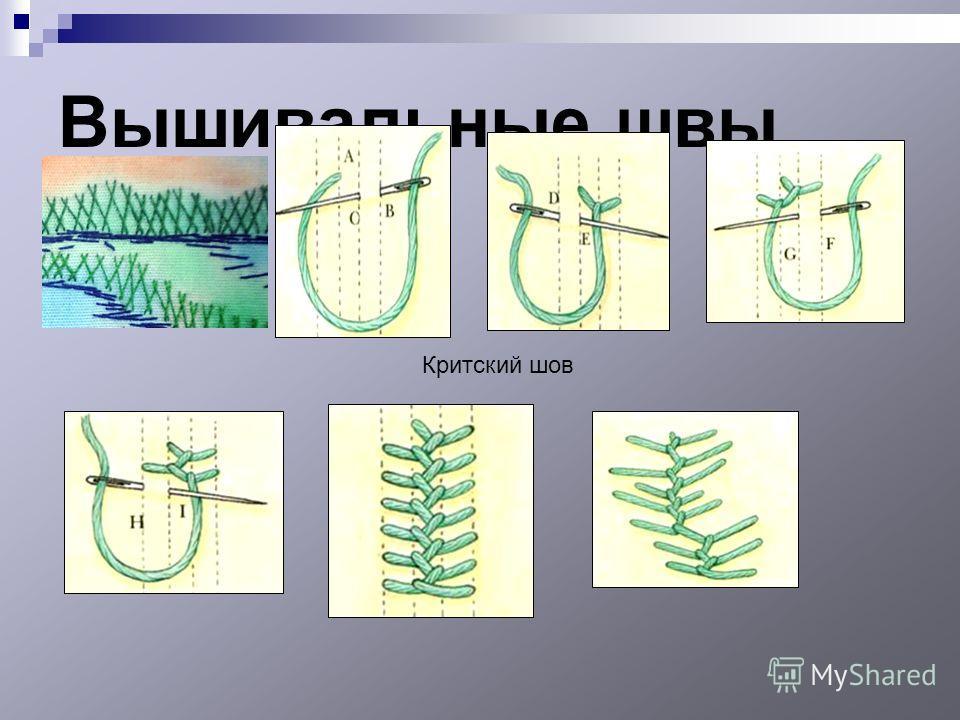 Вышивальные швы Критский шов