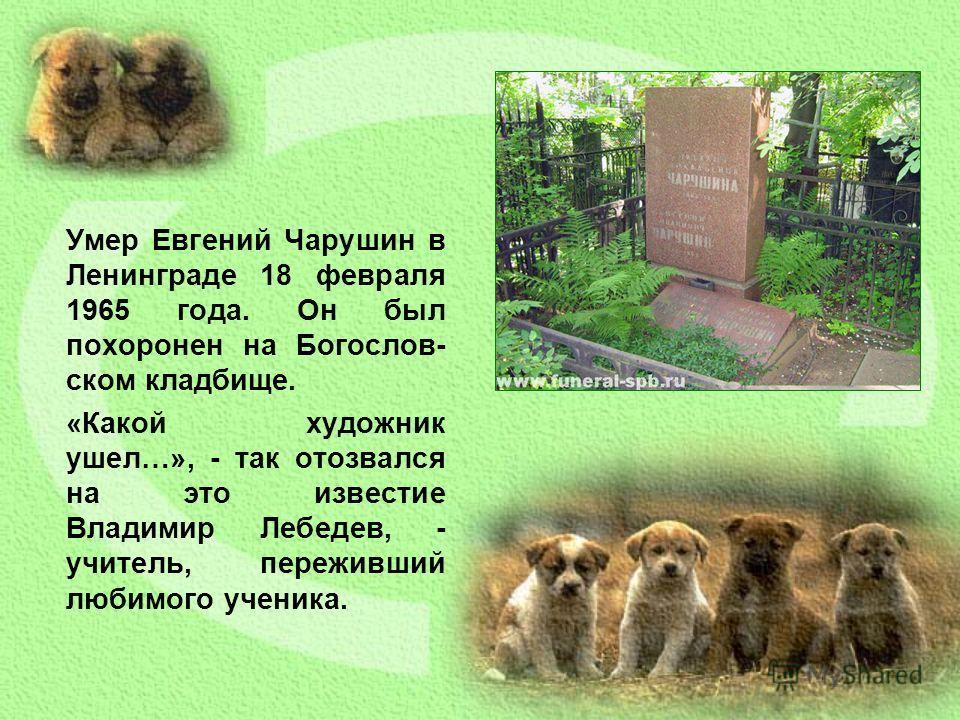 Умер Евгений Чарушин в Ленинграде 18 февраля 1965 года. Он был похоронен на Богослов- ском кладбище. «Какой художник ушел…», - так отозвался на это известие Владимир Лебедев, - учитель, переживший любимого ученика.