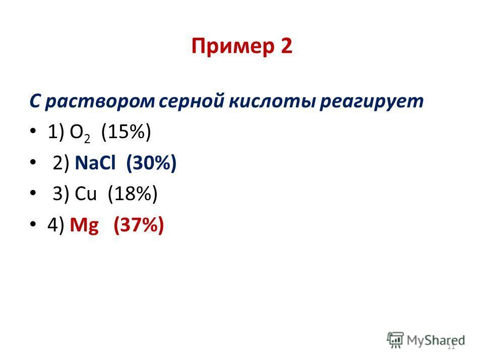 Пример 2 С раствором серной кислоты реагирует 1) О 2 (15%) 2) NaCl (30%) 3) Cu (18%) 4) Mg (37%) 11