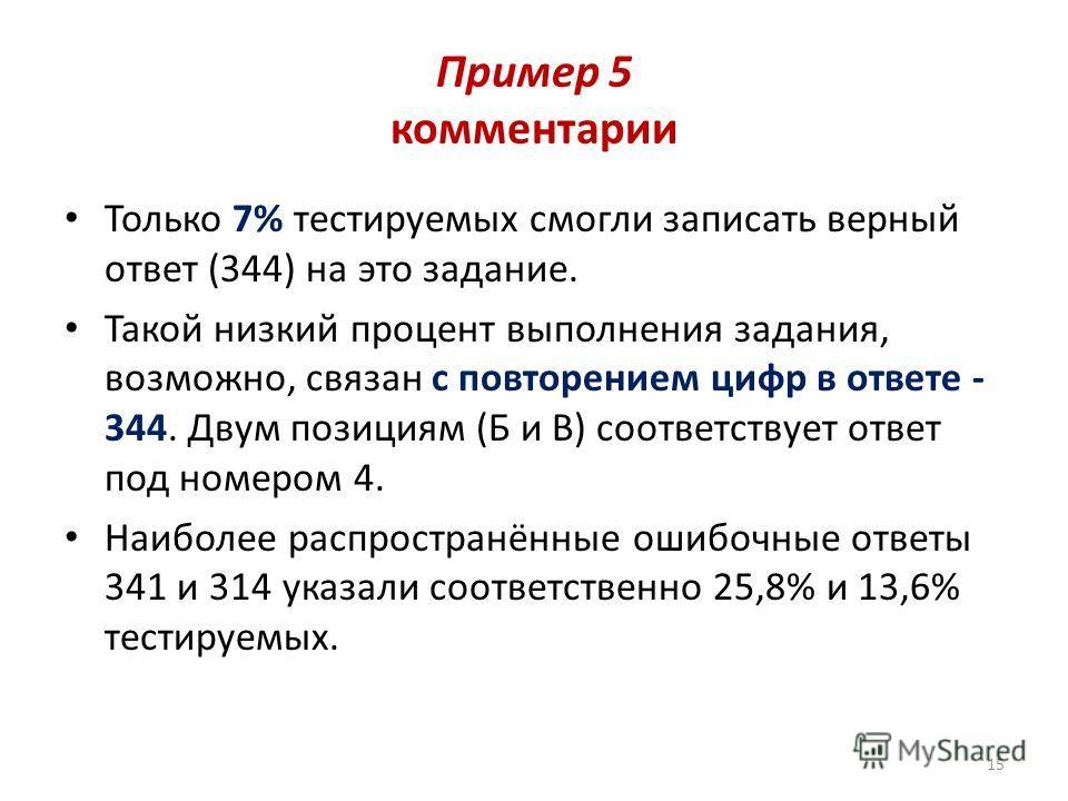 Пример 5 комментарии Только 7% тестируемых смогли записать верный ответ (344) на это задание. Такой низкий процент выполнения задания, возможно, связан с повторением цифр в ответе - 344. Двум позициям (Б и В) соответствует ответ под номером 4. Наибол
