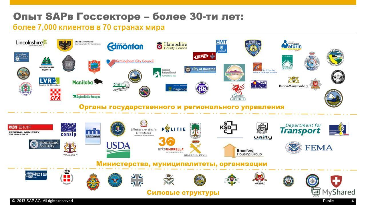 ©2013 SAP AG. All rights reserved.4 Public Опыт SAPв Госсекторе – более 30-ти лет: более 7,000 клиентов в 70 странах мира Органы государственного и регионального управления Силовые структуры Министерства, муниципалитеты, организации