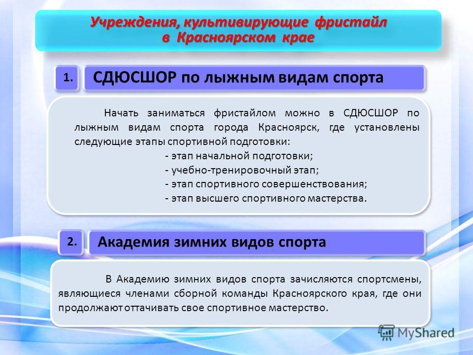 Начать заниматься фристайлом можно в СДЮСШОР по лыжным видам спорта города Красноярск, где установлены следующие этапы спортивной подготовки: - этап начальной подготовки; - учебно-тренировочный этап; - этап спортивного совершенствования; - этап высше