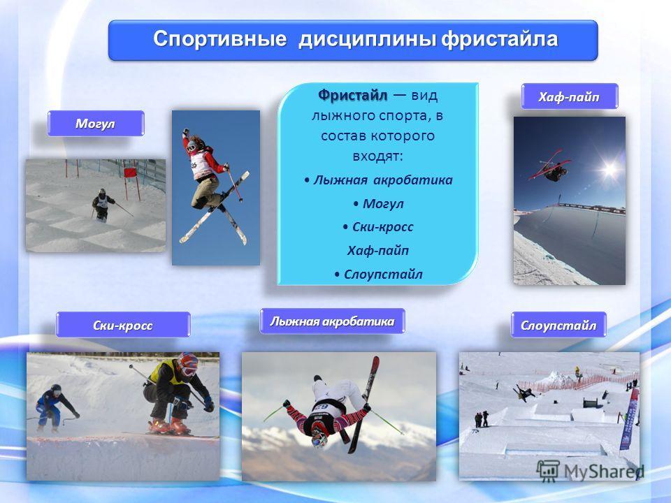 Фристайл Фристайл вид лыжного спорта, в состав которого входят: Лыжная акробатика Могул Ски-кросс Хаф-пайп Слоупстайл Фристайл Фристайл вид лыжного спорта, в состав которого входят: Лыжная акробатика Могул Ски-кросс Хаф-пайп Слоупстайл Спортивные дис