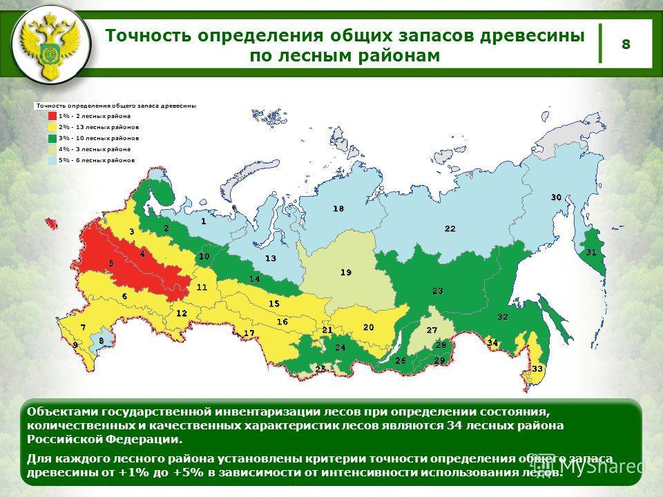 Точность определения общих запасов древесины по лесным районам 8 Объектами государственной инвентаризации лесов при определении состояния, количественных и качественных характеристик лесов являются 34 лесных района Российской Федерации. Для каждого л