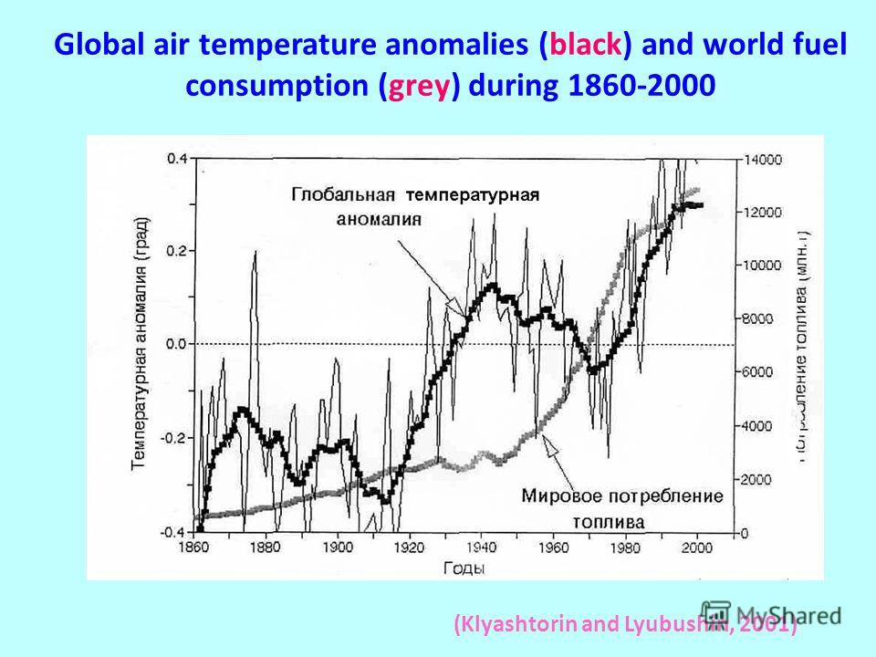 Global air temperature anomalies (black) and world fuel consumption (grey) during 1860-2000 (Klyashtorin and Lyubushin, 2001)