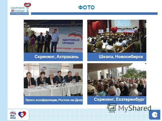 14 ФОТО Скрининг, АстраханьШкола, Новосибирск Пресс-конференция, Ростов-на-Дону Скрининг, Екатеринбург