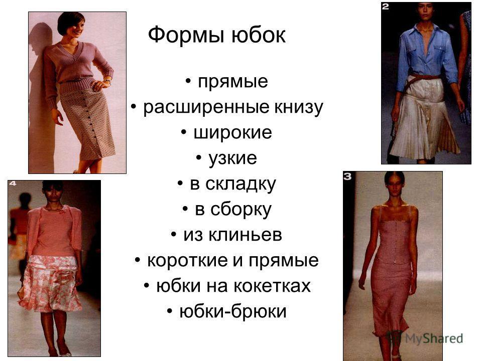 Формы юбок прямые расширенные книзу широкие узкие в складку в сборку из клиньев короткие и прямые юбки на кокетках юбки-брюки