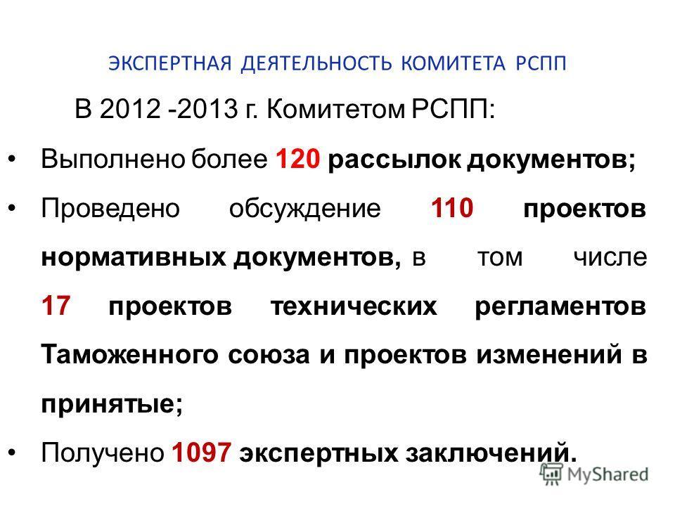 ЭКСПЕРТНАЯ ДЕЯТЕЛЬНОСТЬ КОМИТЕТА РСПП В 2012 -2013 г. Комитетом РСПП: Выполнено более 120 рассылок документов; Проведено обсуждение 110 проектов нормативных документов, в том числе 17 проектов технических регламентов Таможенного союза и проектов изме