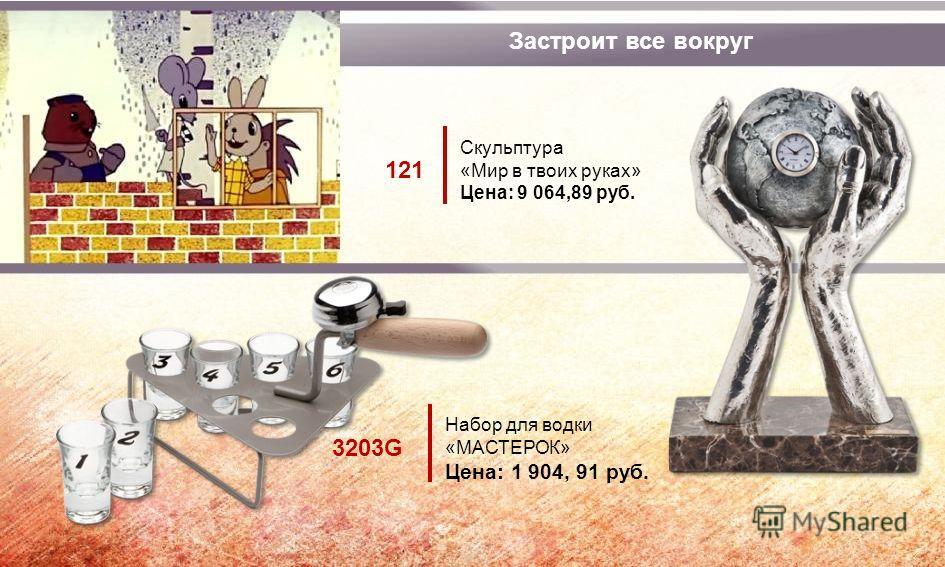 Застроит все вокруг Набор для водки «МАСТЕРОК» Цена: 1 904, 91 руб. 3203G Скульптура «Мир в твоих руках» Цена: 9 064,89 руб. 121