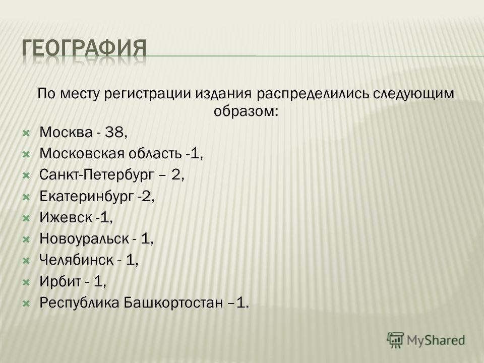 По месту регистрации издания распределились следующим образом: Москва - 38, Московская область -1, Санкт-Петербург – 2, Екатеринбург -2, Ижевск -1, Новоуральск - 1, Челябинск - 1, Ирбит - 1, Республика Башкортостан –1.